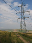 Good view of a Pylon and looking back at the radio masts on Hamledon.