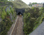 Train exiting the Summit Tunnel.
